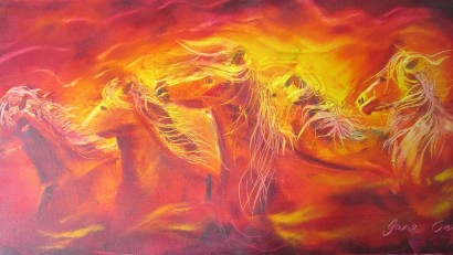 Fire Horse Herd - 12 x 24 inches oils on canvas $500