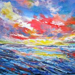 Sunset Port Waikato - 15x30 inches - acrylics on canvas $450
