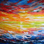Sunset Reflections - 32x39 inches Acrylics on canvas $750