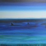 Whale Watching Kaikoura Night- oils on canvas - 30x40 inches $750