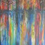 waikato river dusk reflections - acrylics on canvas 30x40 inches $750